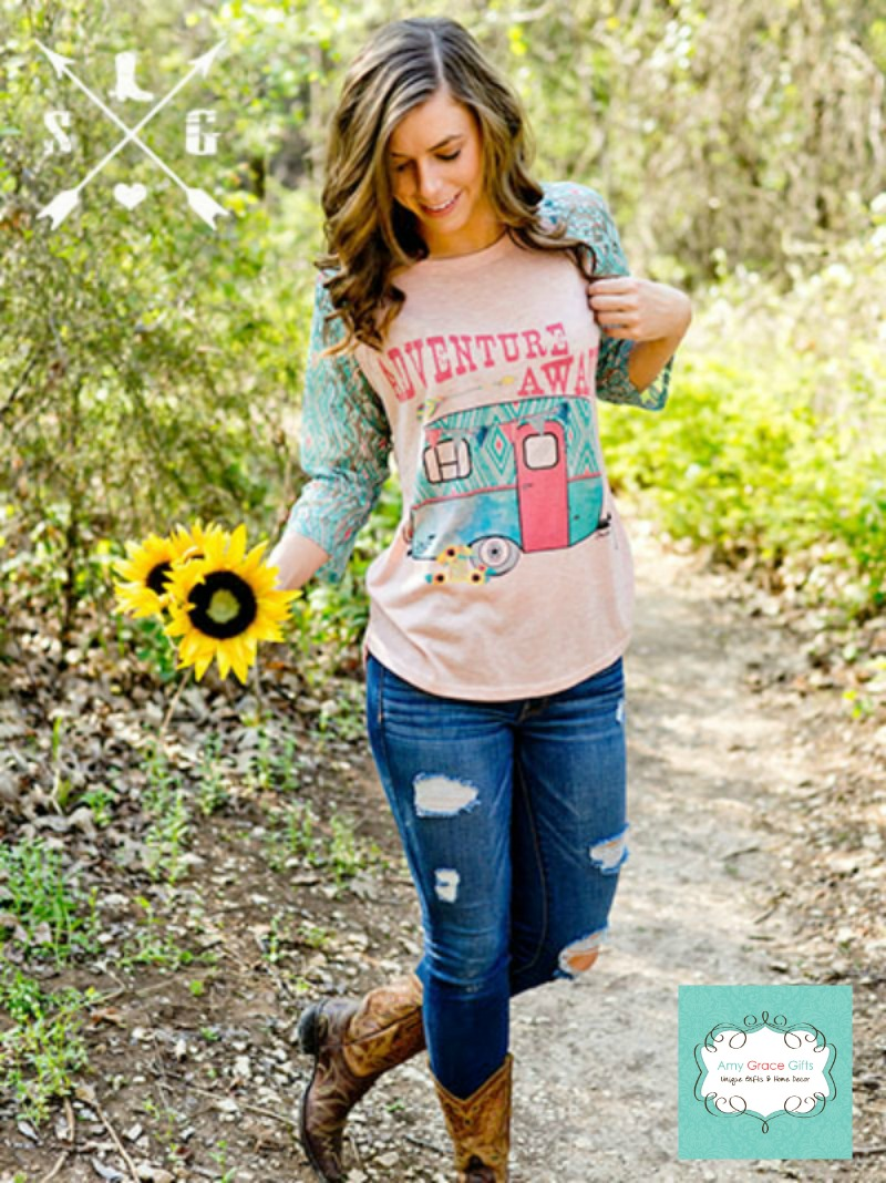 Adventure Awaits Shirt with Aztec Print Lace Sleeves