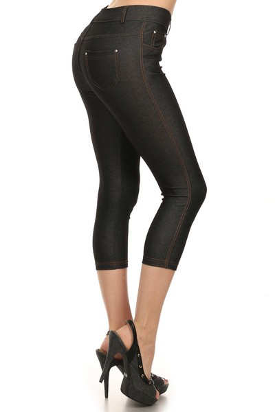 Capri Jegging Black with Tan Stitching
