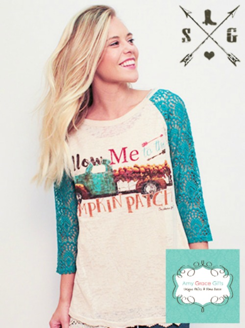 Follow Me to the Pumpkin Patch Shirt with Turquoise Lace