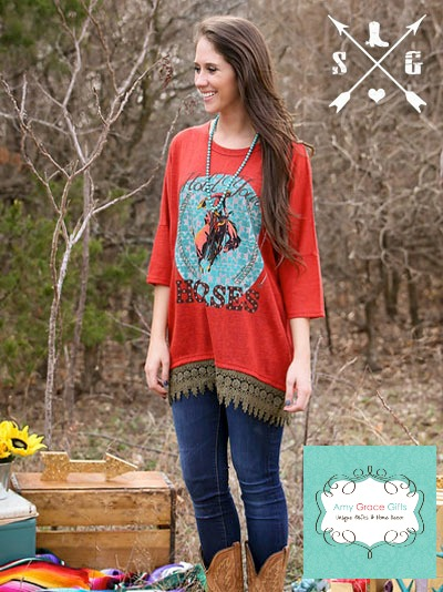 Hold Your Horses on Rust Tunic with Brown Lace Trim