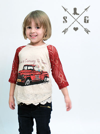 Kids Santa's Coming to Town Shirt Red Lace Sleeves