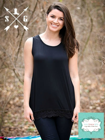 Sleeveless Lace Solid Tank Black