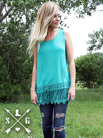 Sleeveless Lace Solid Tank Turquoise